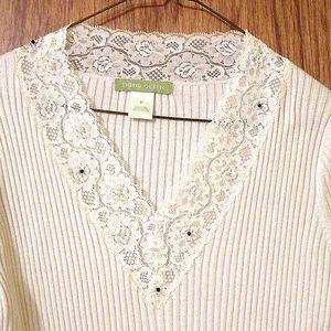 Sigrid Olsen, Medium, V neck pullover sweater